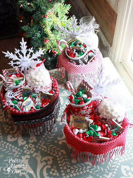 Warm cozy chocolate gift basket diy link party