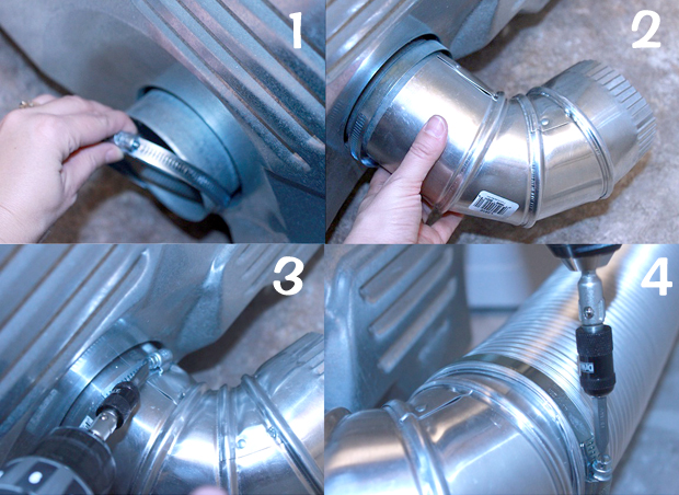 attach elbow to dryer