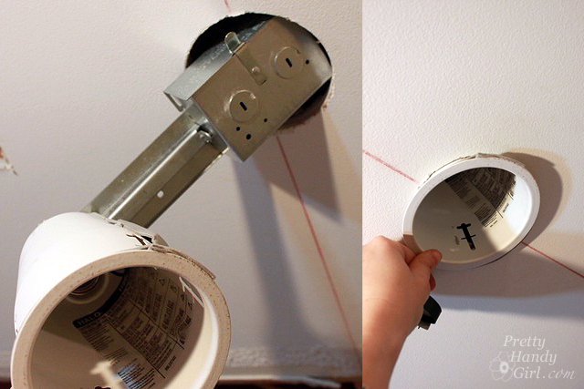 How to install recessed lights pretty handy girl insertrecessedlightinto ceiling aloadofball Image collections