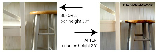 The white stools above are counter height and in the picture for parison purposes