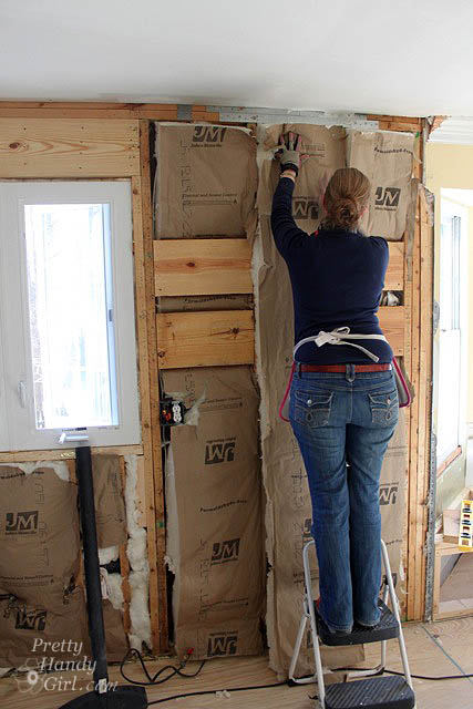 Drywall installation tips and kitchen progress update pretty handy handygirlhanginginsulation solutioingenieria Choice Image
