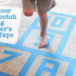 Indoor Hopscotch using Painter's Tape