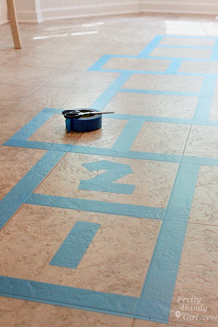lay_out_hopscotch_on_floor