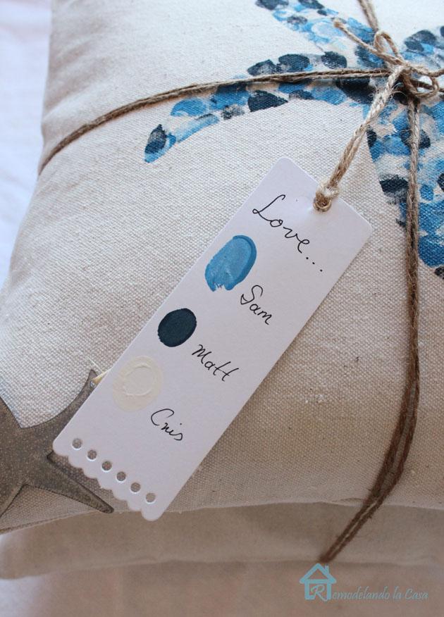 Thumbprint pillows with tag