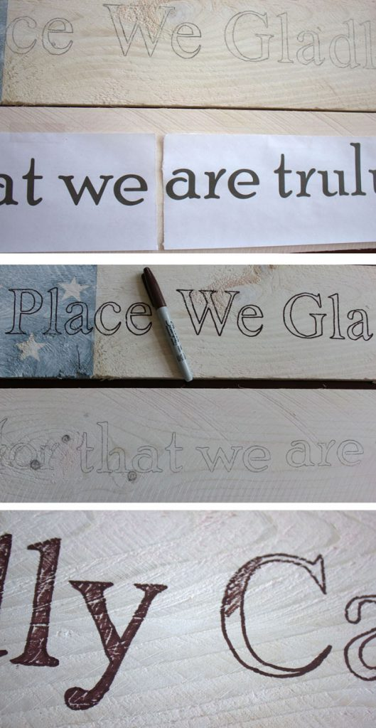 tracing letters on wood