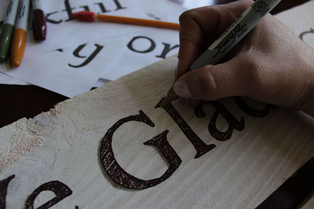 tracing shadows on letters