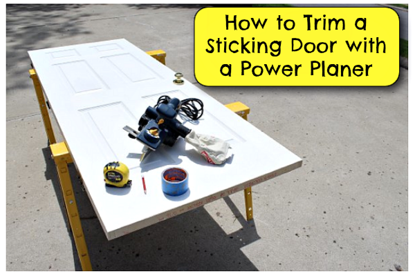 Trim a door with a power planer