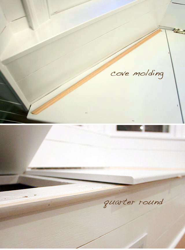 finish off bench seams with molding
