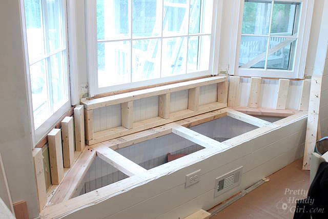 Window Seating building a window seat with storage in a bay window - pretty handy