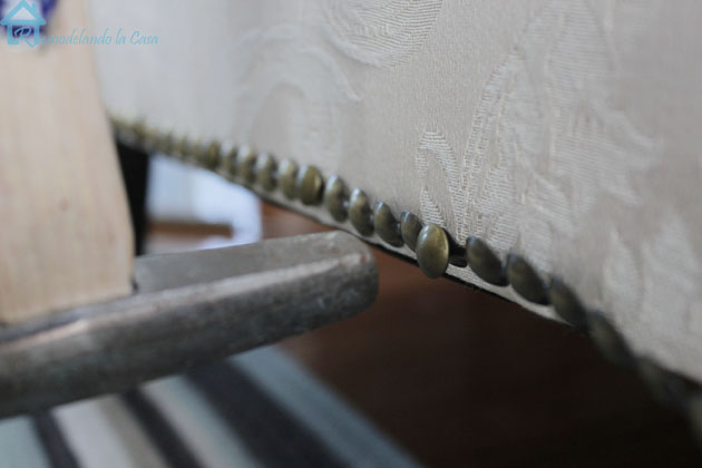hammering tack strip to sofa