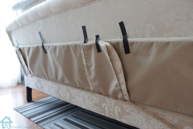 taping up sofa skirt