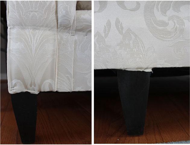 tucking fabric on sofas leg