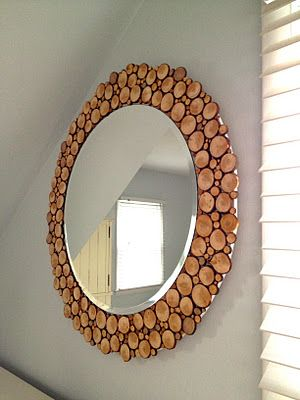 30 amazing diy decorative mirrors pretty handy girl wood rounds mirror 30 amazing diy mirrors solutioingenieria Image collections