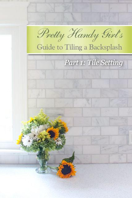 PrettyHandyGirl's Guide to Tiling a Backsplash - Part 1: Tile Setting