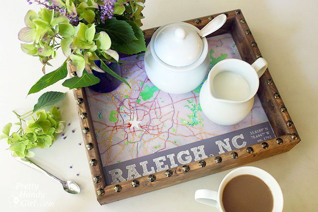 north carolina state capital rustic tray