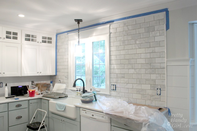 How To Install A Tile Backsplash Tile Setting Pretty Handy Girl