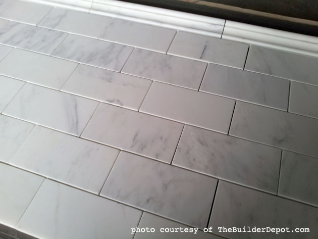 Venato Marble Subway Tiles from TheBuilderDepot.com - How To Tile A Backsplash - Part 1: Tile Setting - Pretty Handy Girl