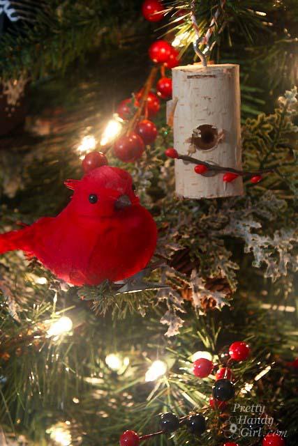 Birch Log Birdhouse on Christmas Tree | Pretty Handy Girl