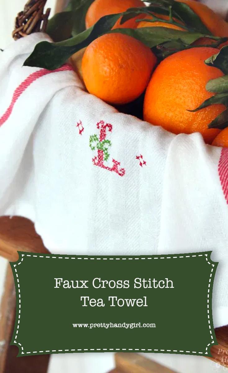 Faux Cross Stitch Tea Towel | Pretty Handy Girl