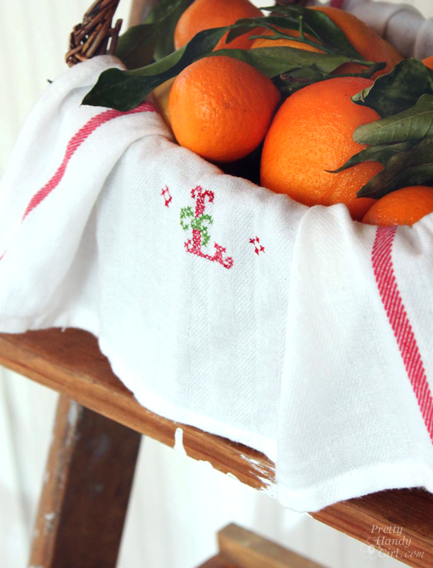 Faux Cross Stitch Tea Towel   Pretty Handy Girl