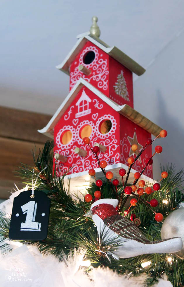painted birdhouse tree topper tutorial pretty handy girl - Bird House Christmas Decoration