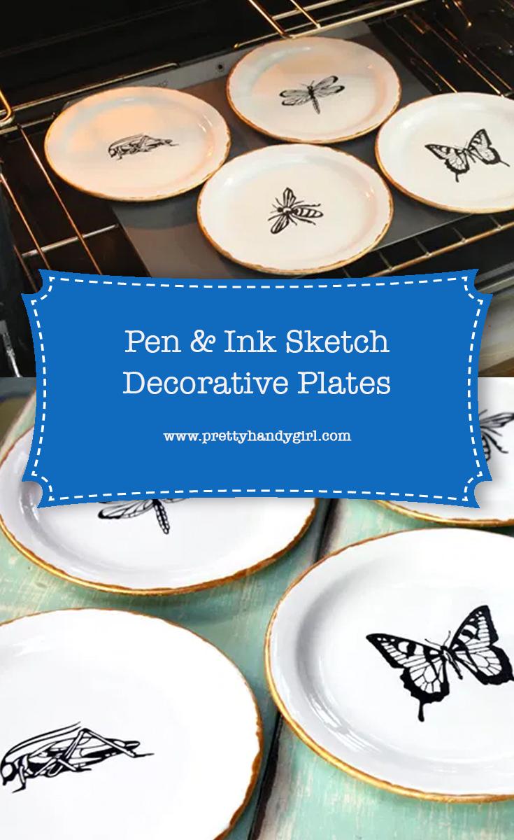 DIY Pen and Ink Sketch Decorative Plates | Pretty Handy Girl