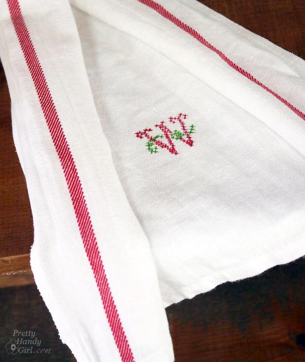 Tea Towel Kitchen Curtains: Faux Cross Stitch Tea Towel