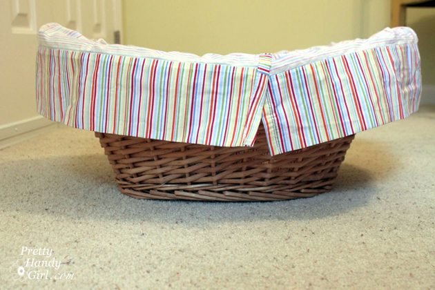 easy sewing projects to help you learn to sew - gift basket liner