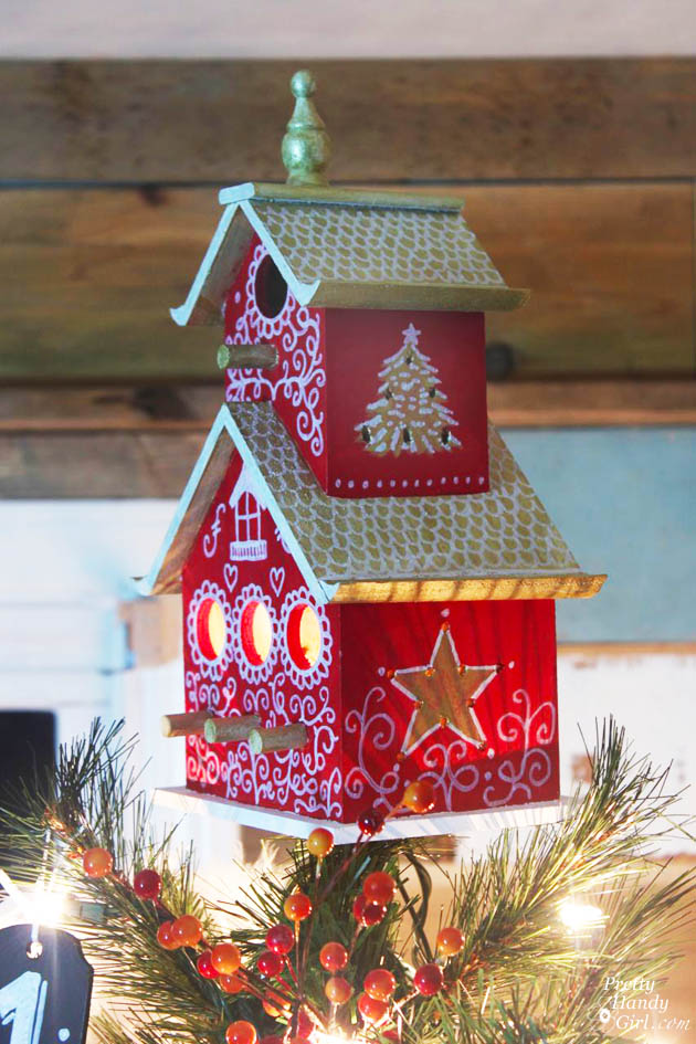 Painted Birdhouse Tree Topper Tutorial | Pretty Handy Girl