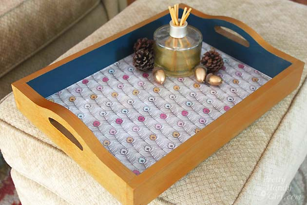 Scrapbook Paper Lined Painted Trays | Pretty Handy Girl
