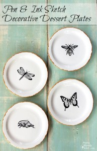 Pen and Ink Sketch Decorative Dessert Plates | Pretty Handy Girl