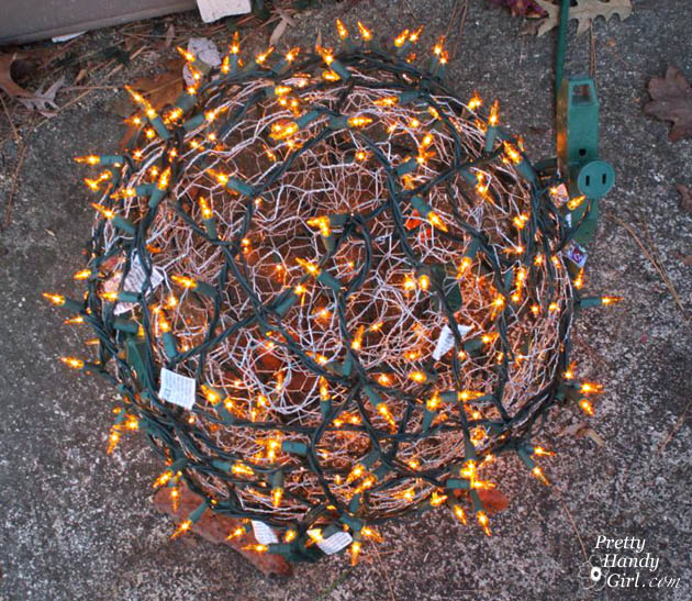How to make giant lighted ornament balls pretty handy girl for Outdoor lighted christmas ornaments