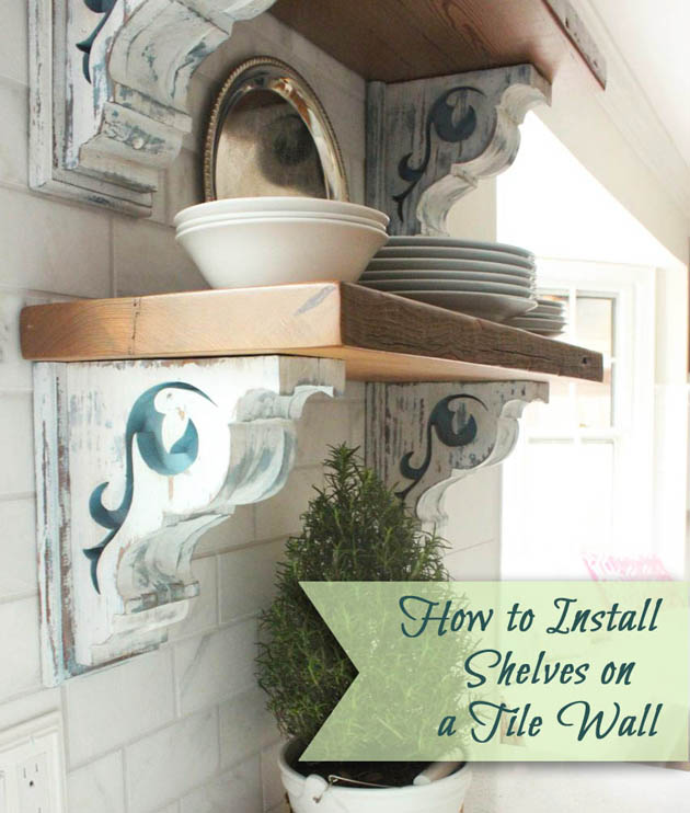 How to Install Shelves on a Tile Wall (using Corbels)   Pretty Handy Girl