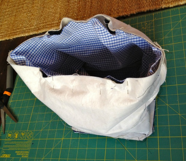 canvas tote top seam