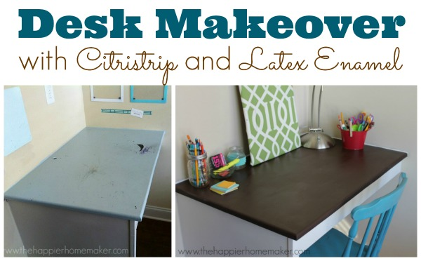desk makeover sitristrip latex enamel