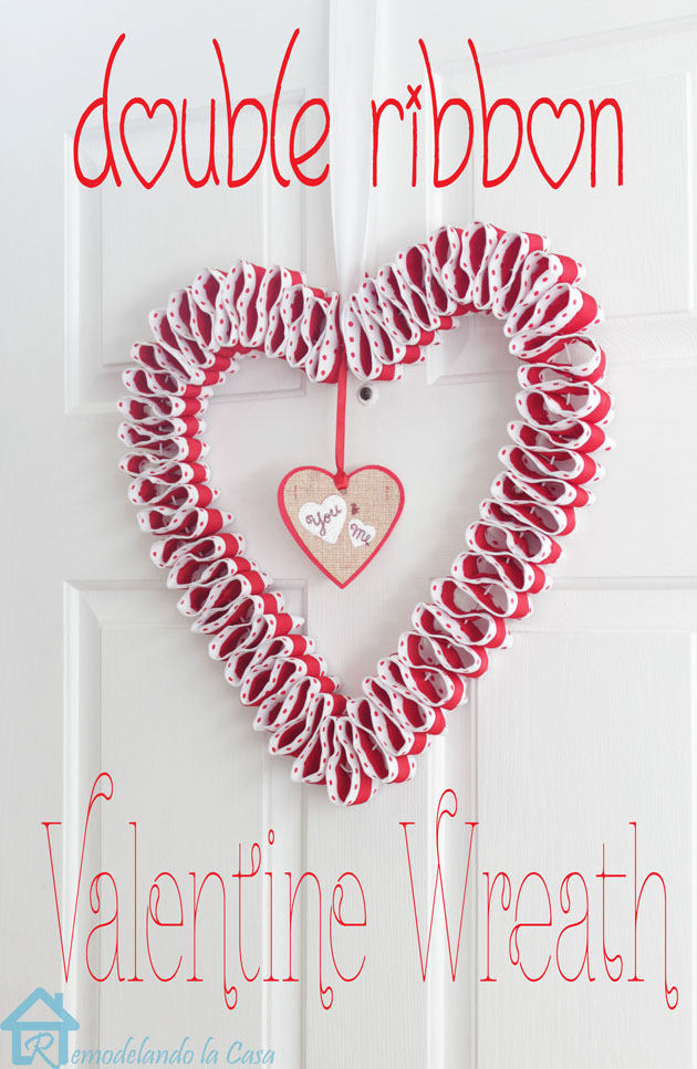 double ribbon heart wreath on door 1-l
