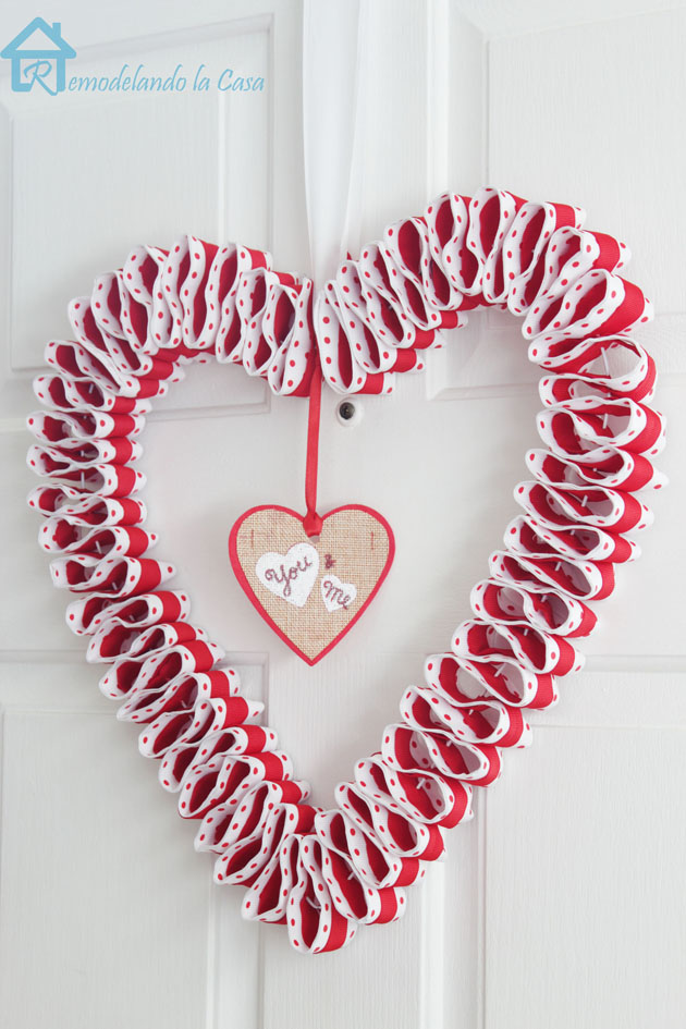 double ribbon heart wreath on door 2