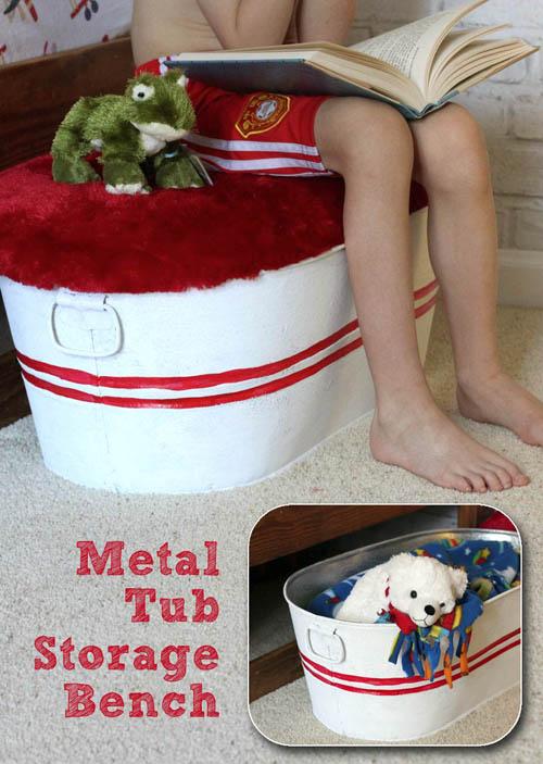 Galvanized Tub Storage Bench for Kids | Pretty Handy Girl