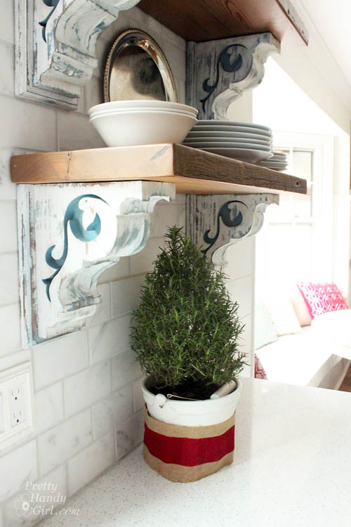 shelves using corbel brackets