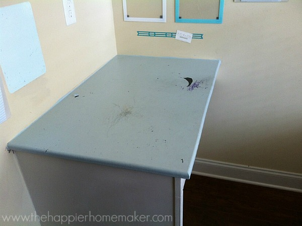 painted desk stained