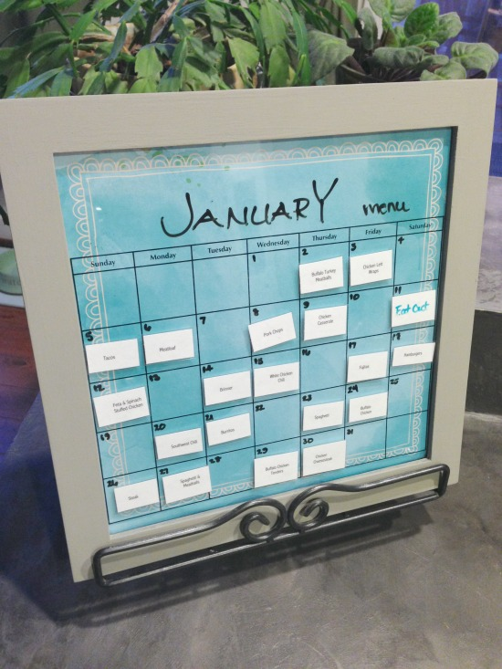 Reusable monthly menu board with magnetic meals - perpetual menu board