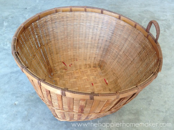 before old thrifted basket staining