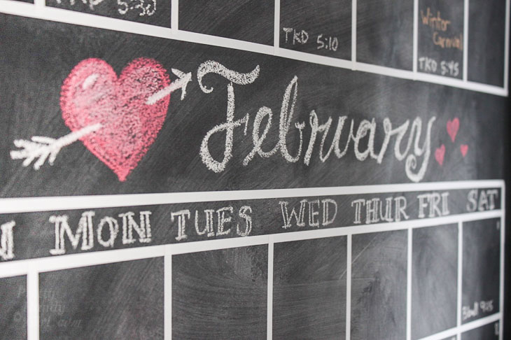 February Chalkboard Calendar month