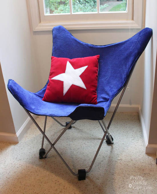 easy sewing projects to help you learn to sew - recover butterfly chair