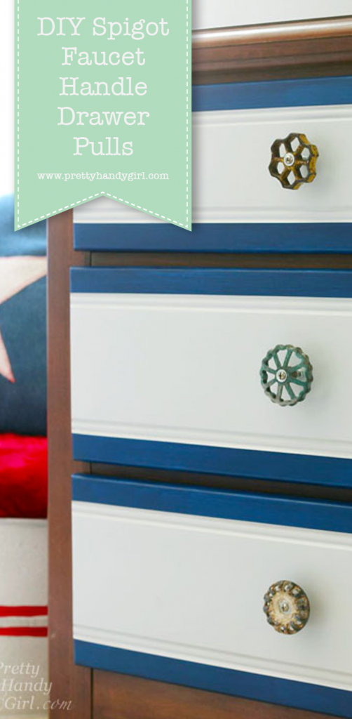 blue and white dresser with spigot handle