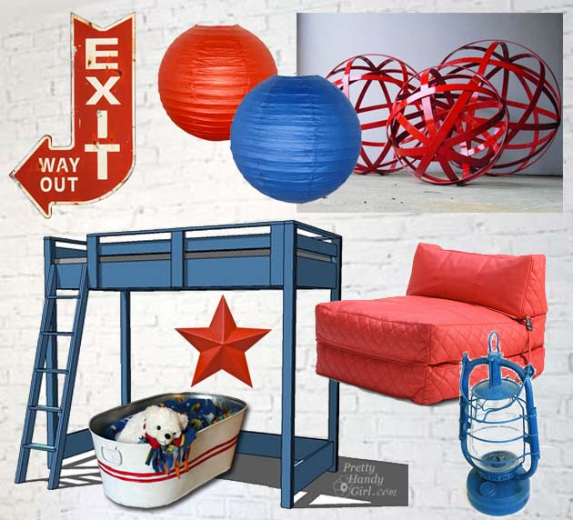 Boys Red & Blue Room Mood Board | Pretty Handy Girl
