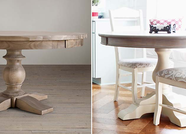 RH pedestal table knock off using Faux Weathered Gray Wood Grain Technique | Pretty Handy Girl