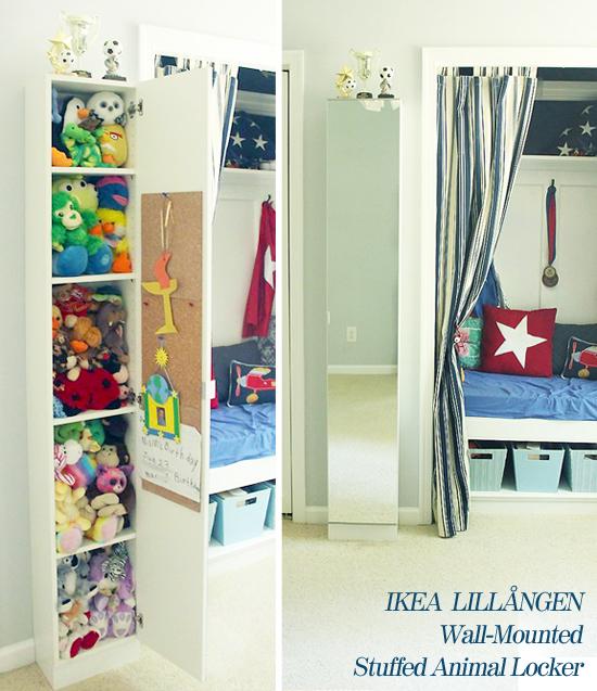 Wall-mounted IKEA LILLÅNGEN Mirrored Cabinet turned Stuffed Animal Storage | Pretty Handy Girl