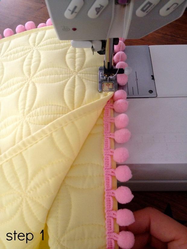 pom pom pillows step 1