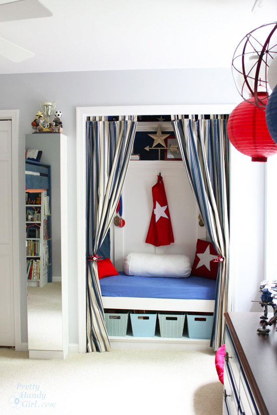 Red White And Blue Room red, white & blue themed boy's room reveal - pretty handy girl
